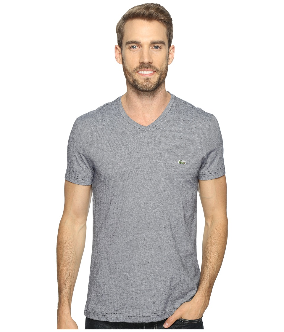 Lacoste - V-Neck Stripe T-Shirt (Navy Blue/White) Men's T Shirt