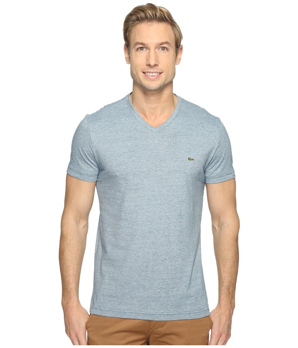 Lacoste V-Neck Stripe T-Shirt (Legion Blue/White) Men