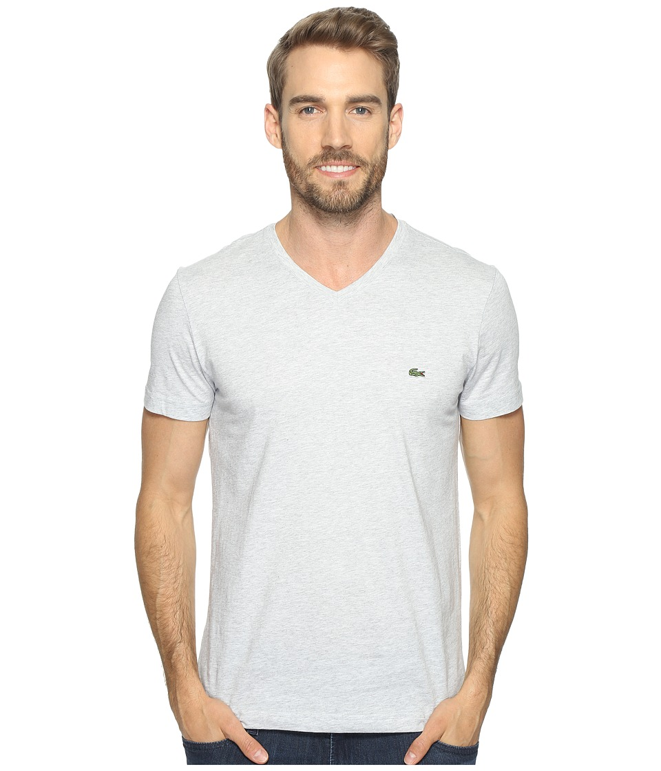Lacoste - V-Neck Stripe T-Shirt (Silver Chine/White) Men's T Shirt