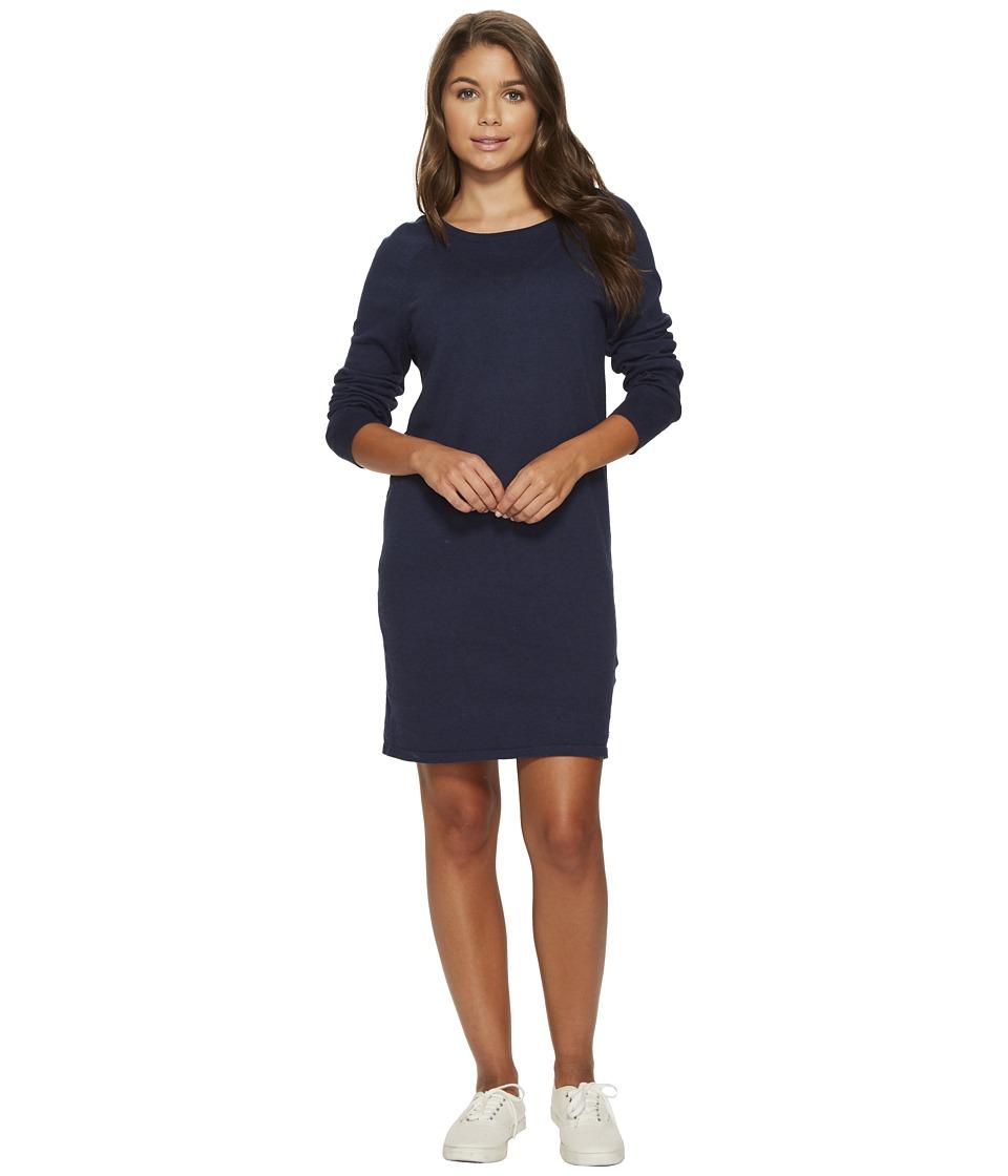 Roxy Winter Story Long Sleeve Button Back Dress (Dress Blues Heather) Women