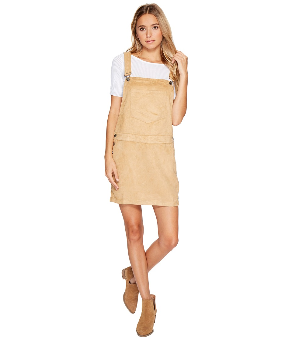 Roxy - Chase The Sun Faux Suede Dungaree Dress (Curry) Women's Dress