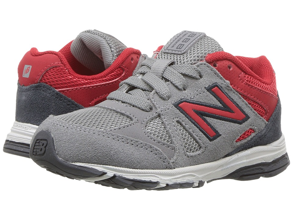 New Balance Kids KJ888v1 (Infant/Toddler) (Grey/Red) Boys Shoes