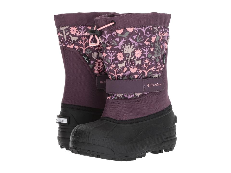 Columbia Kids Powderbug Plus II Print (Toddler/Little Kid/Big Kid) (Dusty Purple/Rosewater) Girls Shoes