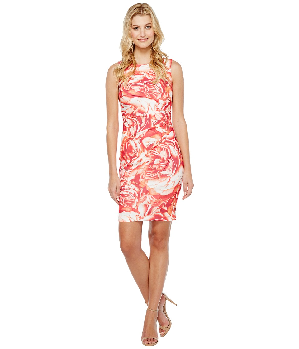 Calvin Klein - Blurred Floral Starburst Sheath Dress (Watermelon Multi) Women's Dress