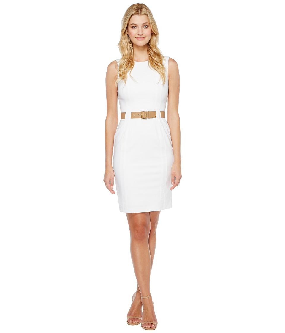 Calvin Klein Belted Sheath Dress CD7G209B (White) Women