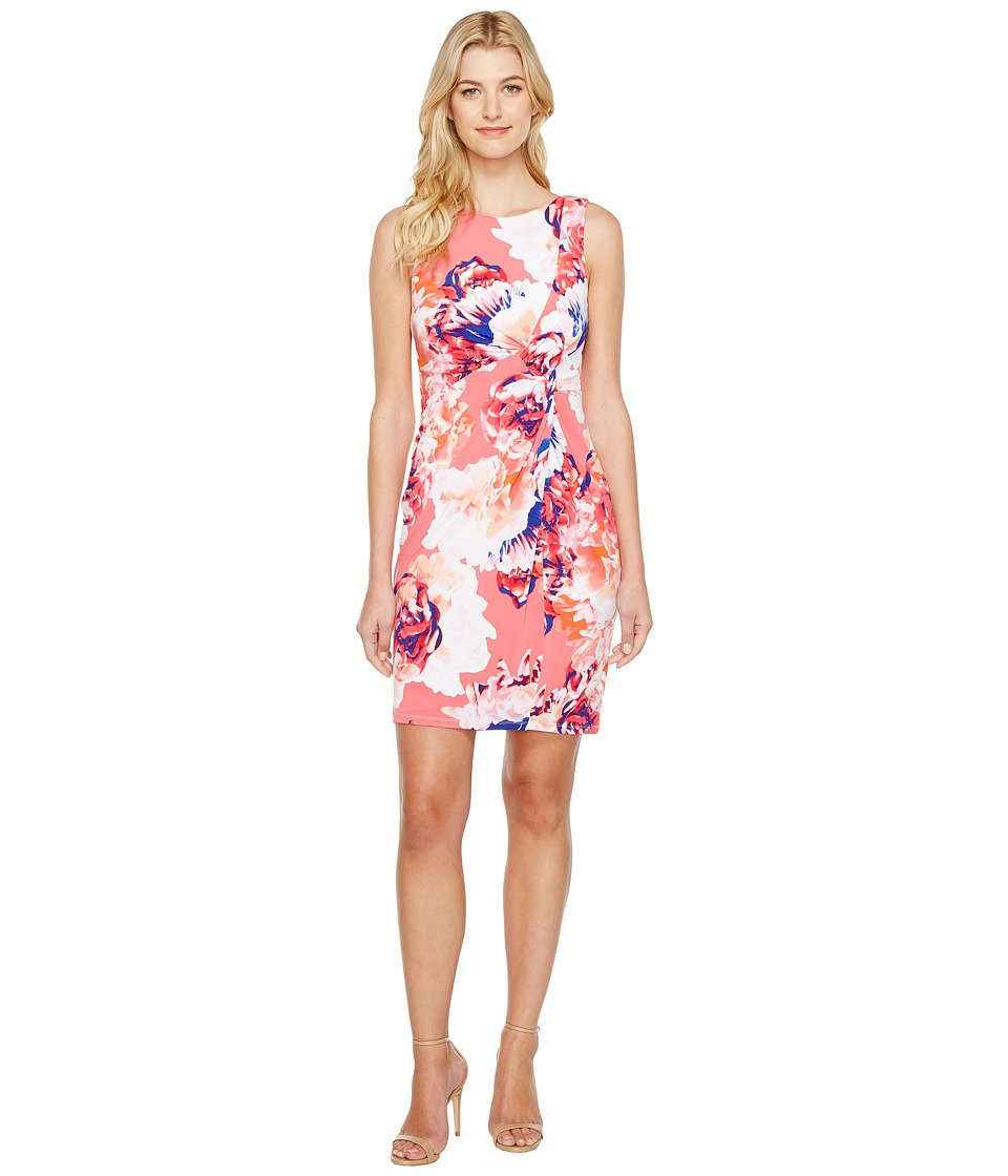 Calvin Klein - Printed Draped Front Dress (Coral Multi) Women's Dress