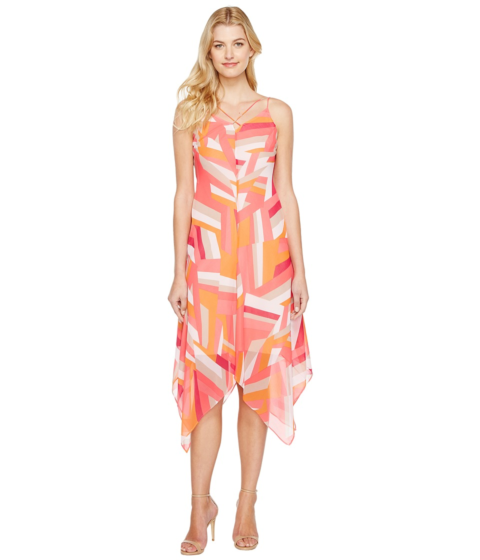 Calvin Klein - Chiffon Dress with Handkerchief Hem (Watermelon Multi) Women's Dress