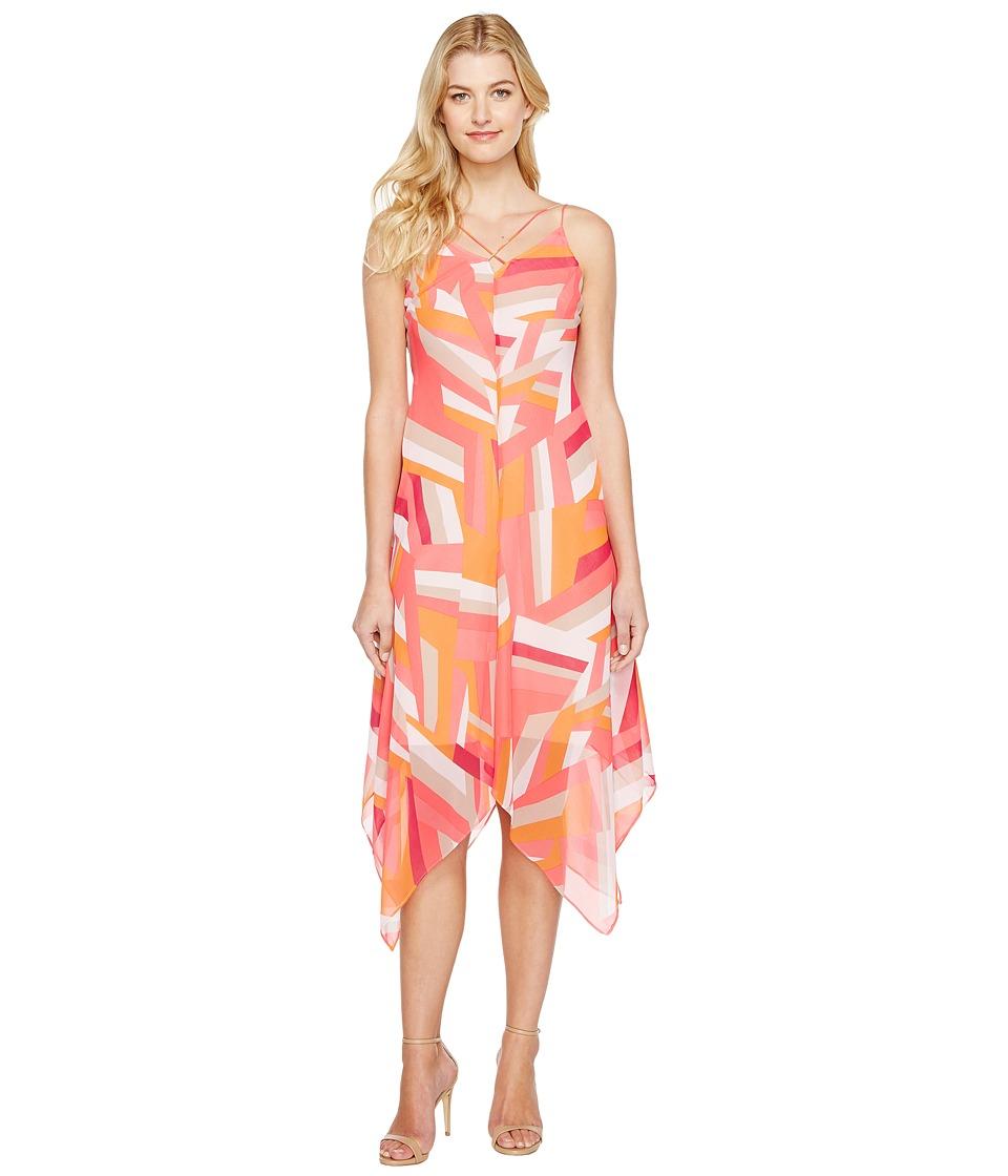 Calvin Klein Chiffon Dress with Handkerchief Hem (Watermelon Multi) Women