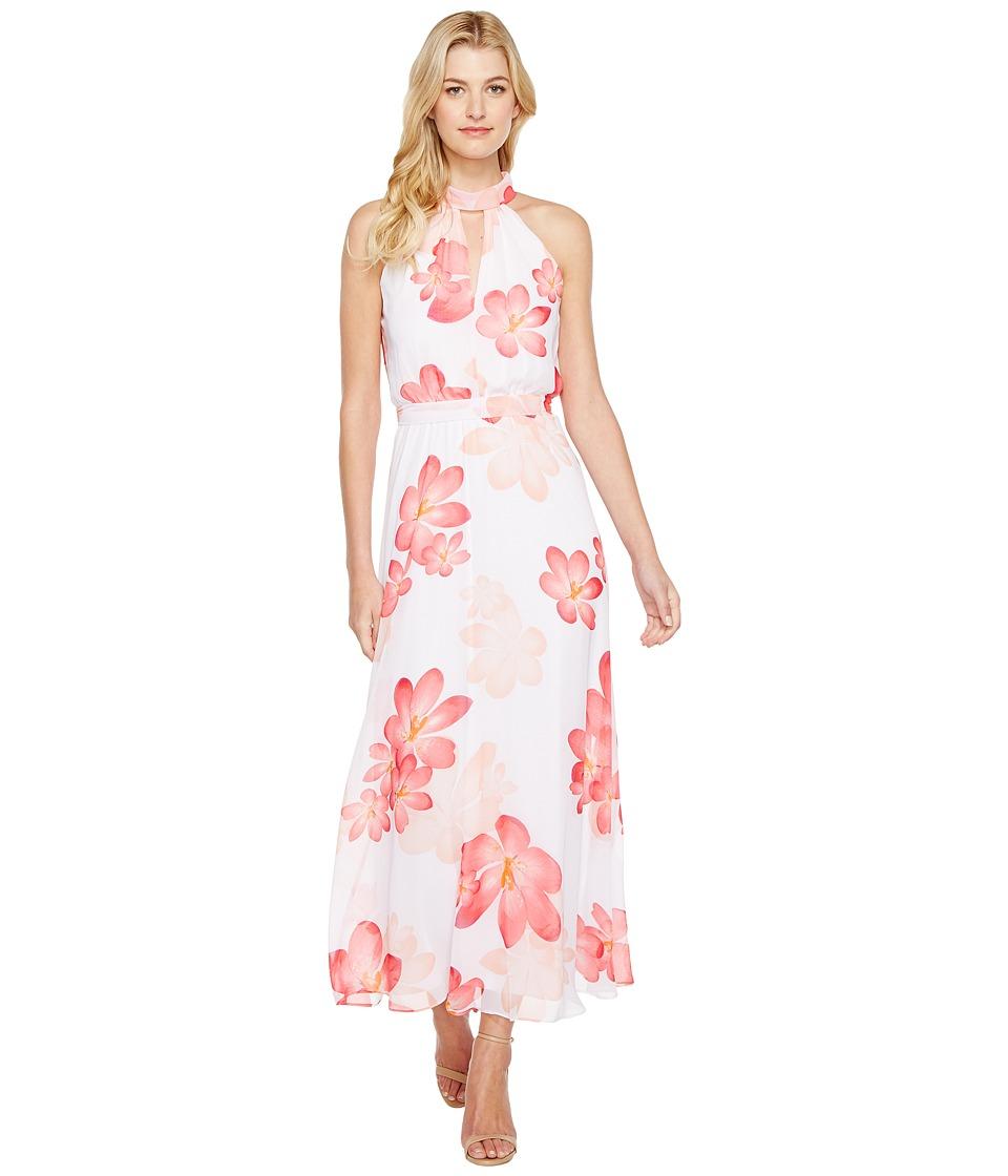 Calvin Klein Halter Neck Chiffon Maxi Dress (Watermelon Multi) Women
