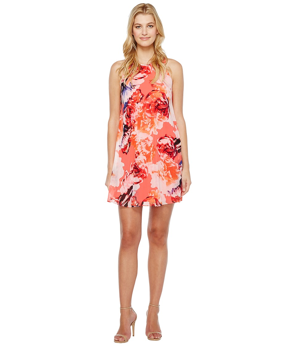 Calvin Klein - Floral Chiffon Trapiz Dress (Coral Multi) Women's Dress