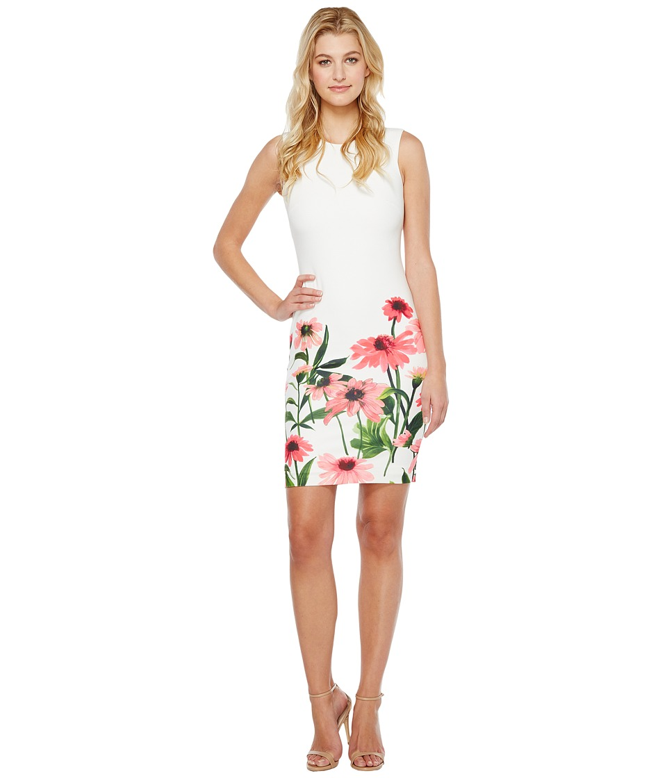Calvin Klein - Sheath Dress with Floral Border Print (Watermelon Multi) Women's Dress