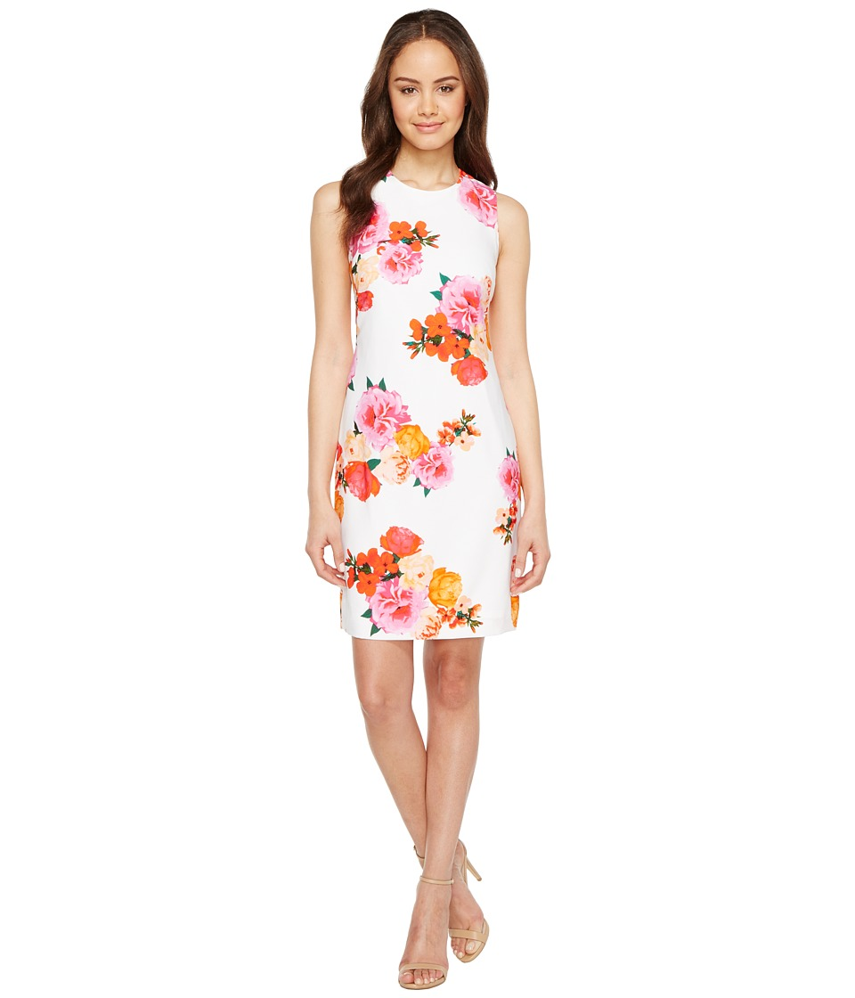 Calvin Klein - Floral Shift Dress (White Multi) Women's Dress