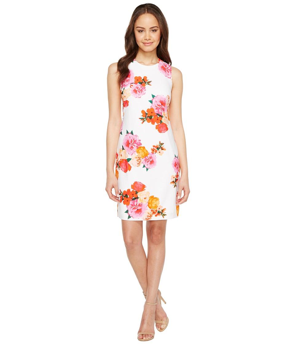 Calvin Klein - Floral Shift Dress (White Multi) Women's Dress