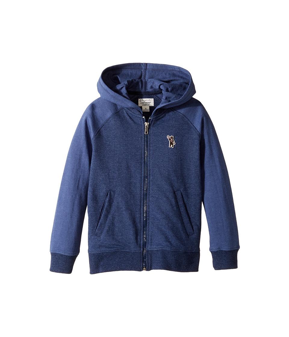 Lucky Brand Kids - French Terry Varsity Jacket w/ Zip-Up (Little Kids/Big Kids) (Moon Indigo) Boy's Coat
