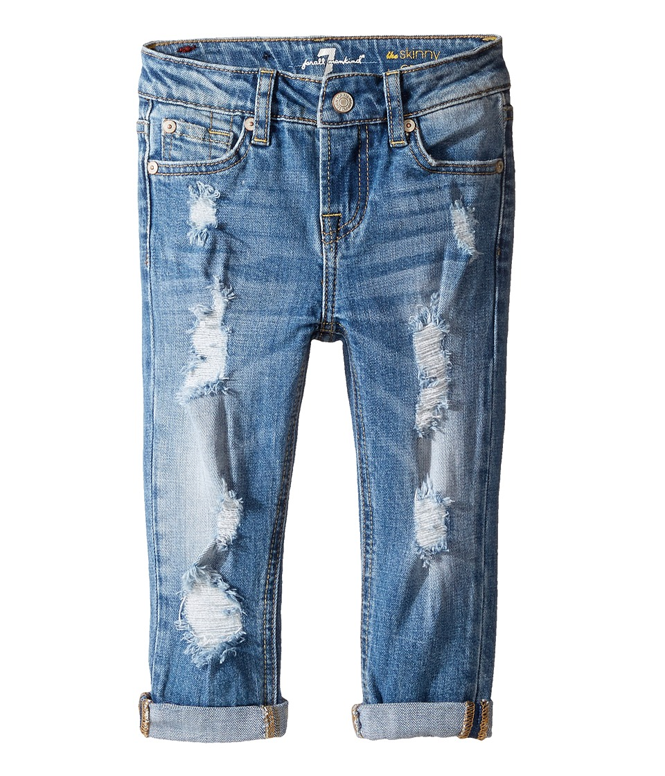 7 For All Mankind Kids - Skinny Crop Roll Jeans in Rigid Blue Orchid (Little Kids) (Rigid Blue Orchid) Girl's Jeans
