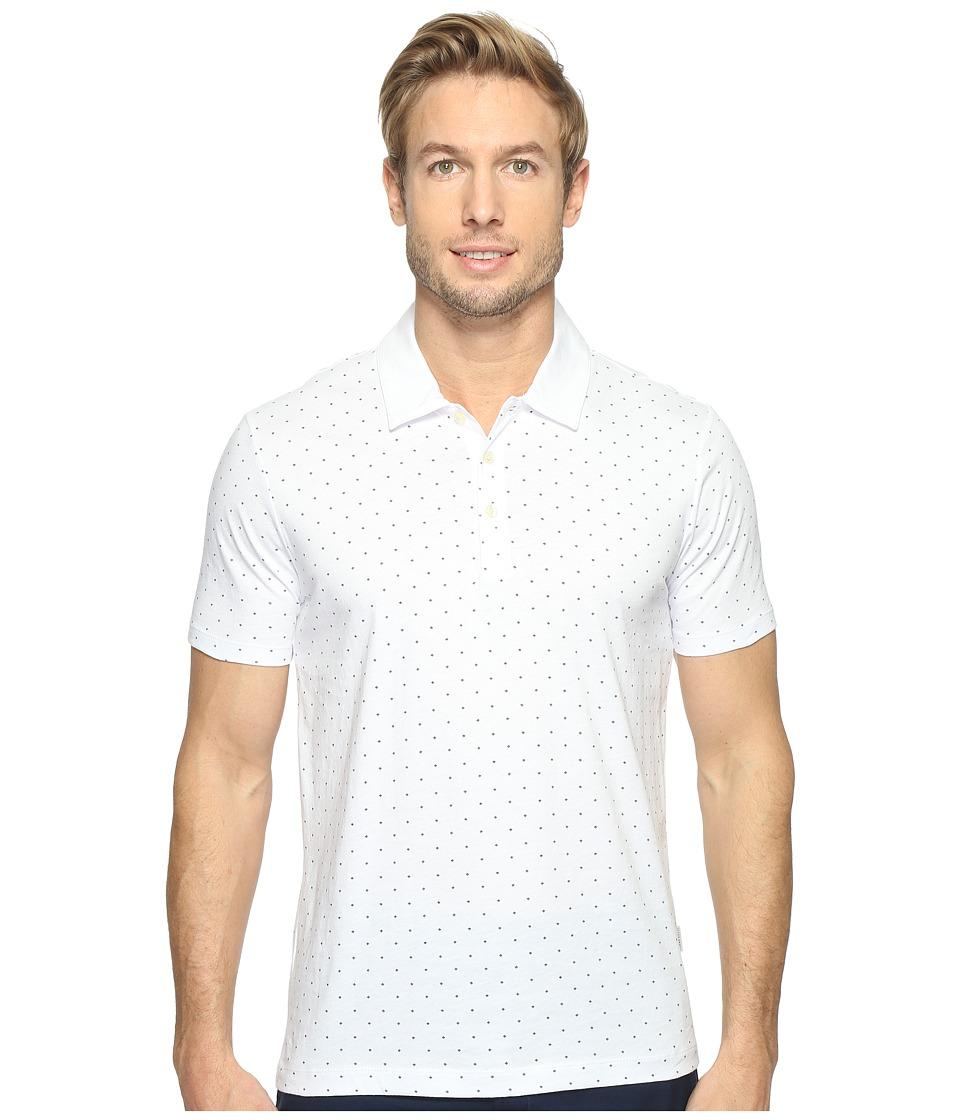 Perry Ellis - Micro Print Pima Cotton Polo Shirt (Bright White) Men's Clothing