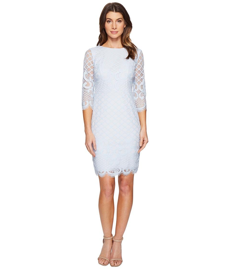Sangria - 3/4 Sleeve Lace Sheath Dress (Powder Blue) Women's Dress