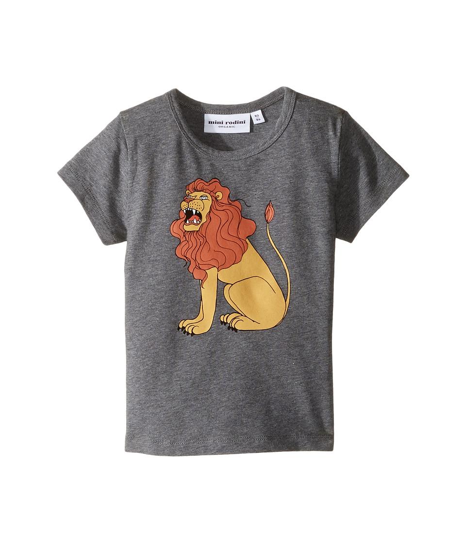 mini rodini - Lion Short Sleeve Tee (Infant/Toddler/Little Kids/Big Kids) (Grey Melange) Boy's T Shirt