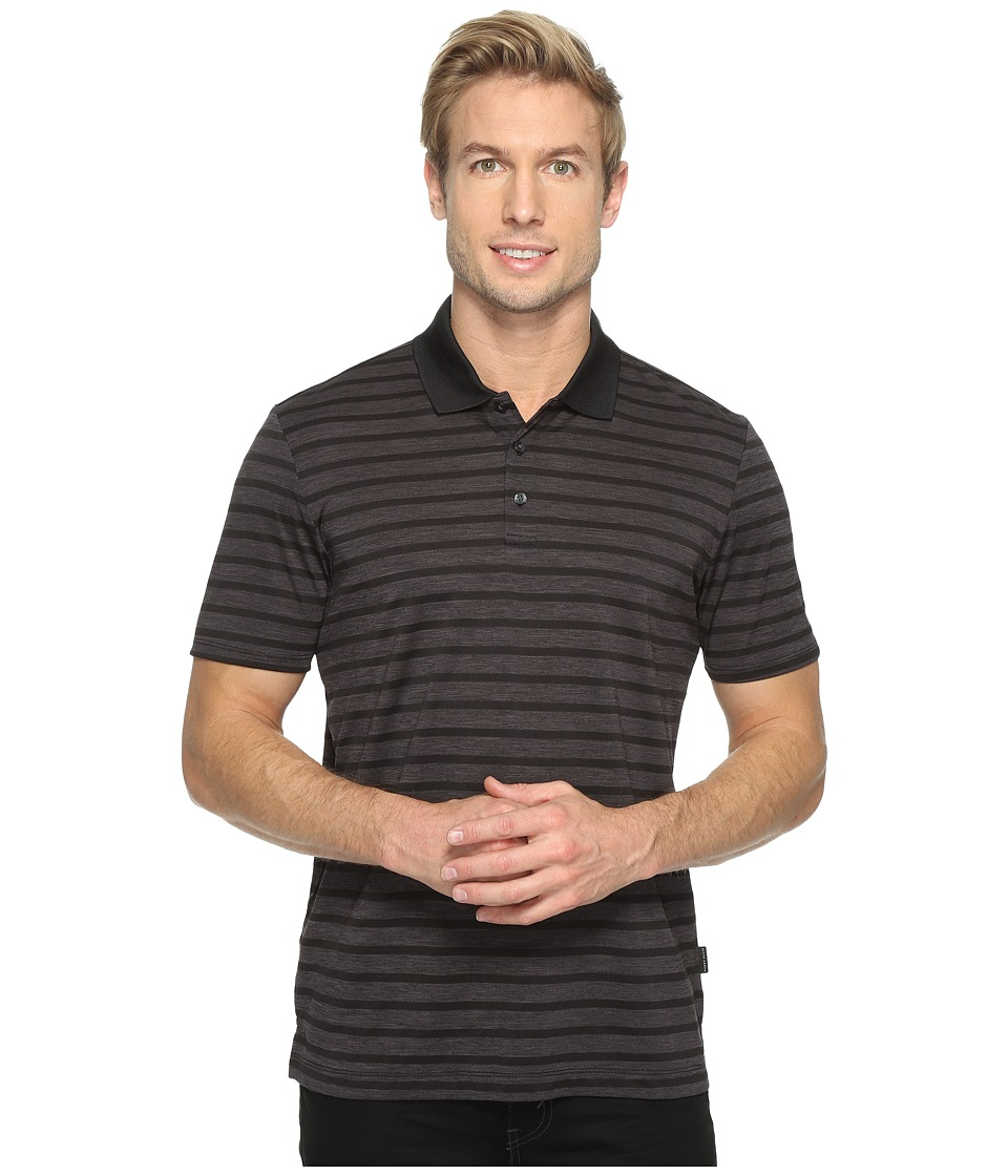 Perry Ellis - Heathered Stripe Jersey Polo Shirt (Black) Men's Clothing