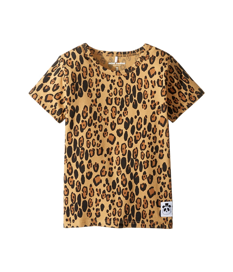 mini rodini - Basic Leopard Short Sleeve Tee (Infant/Toddler/Little Kids/Big Kids) (Beige) Girl's T Shirt