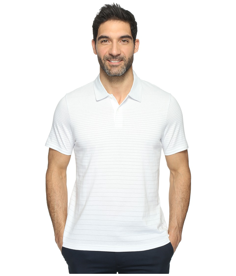 Perry Ellis - Horizontal Stripe Jacquard Polo Shirt (Bright White) Men's Clothing