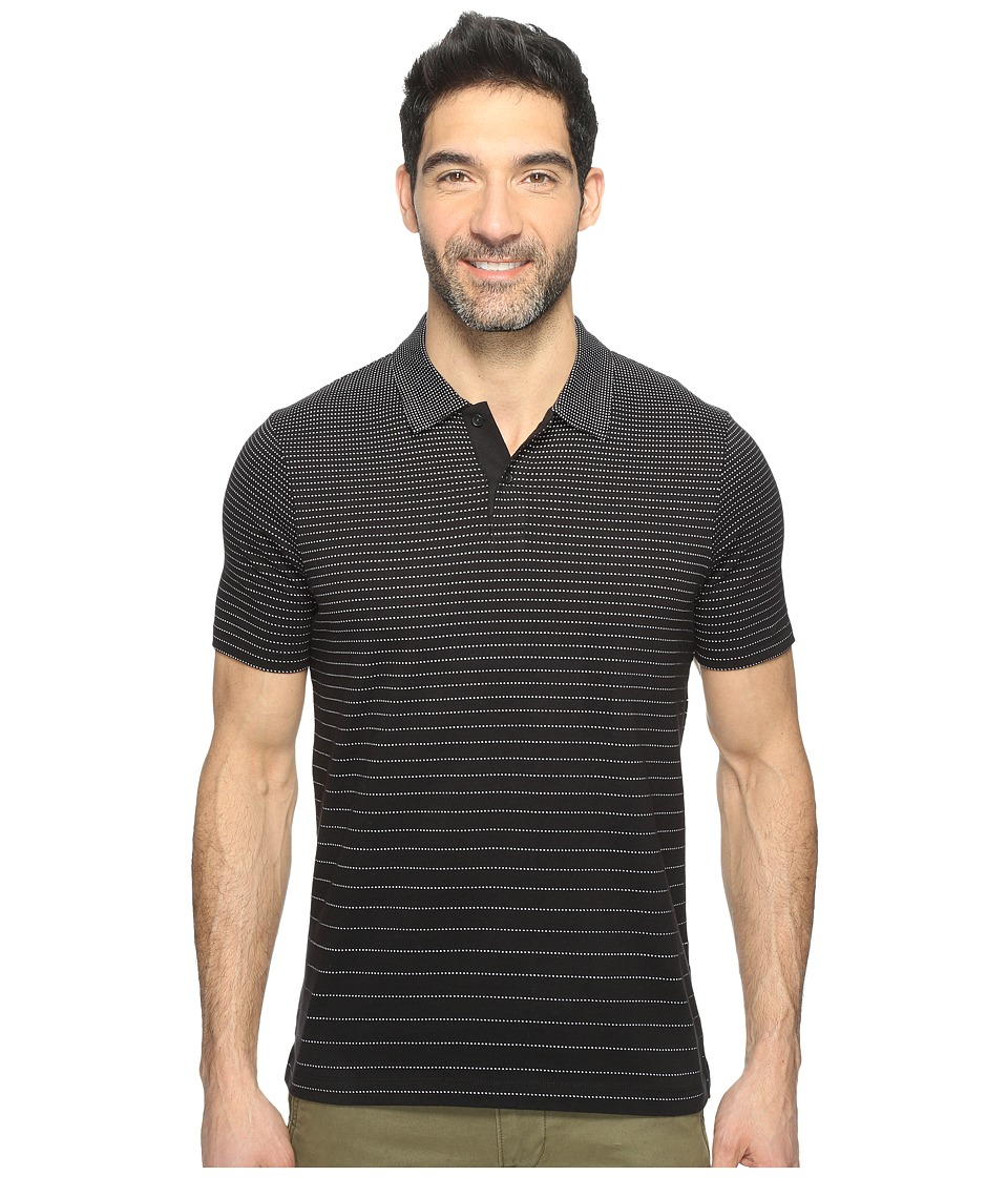 Perry Ellis - Horizontal Stripe Jacquard Polo Shirt (Black) Men's Clothing