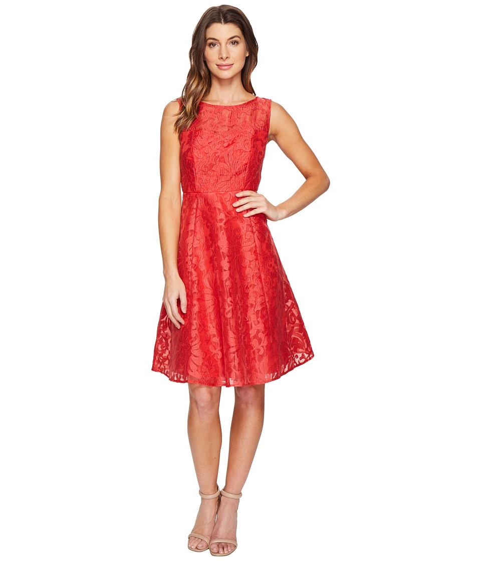 Sangria Sleeveless Lace A-Line Dress (Coral Reef) Women