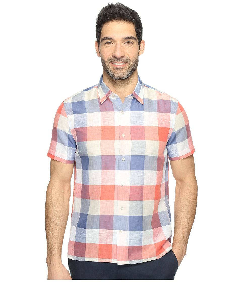 Perry Ellis - Short Sleeve Plaid Linen Shirt (Bijou Blue) Men's Clothing