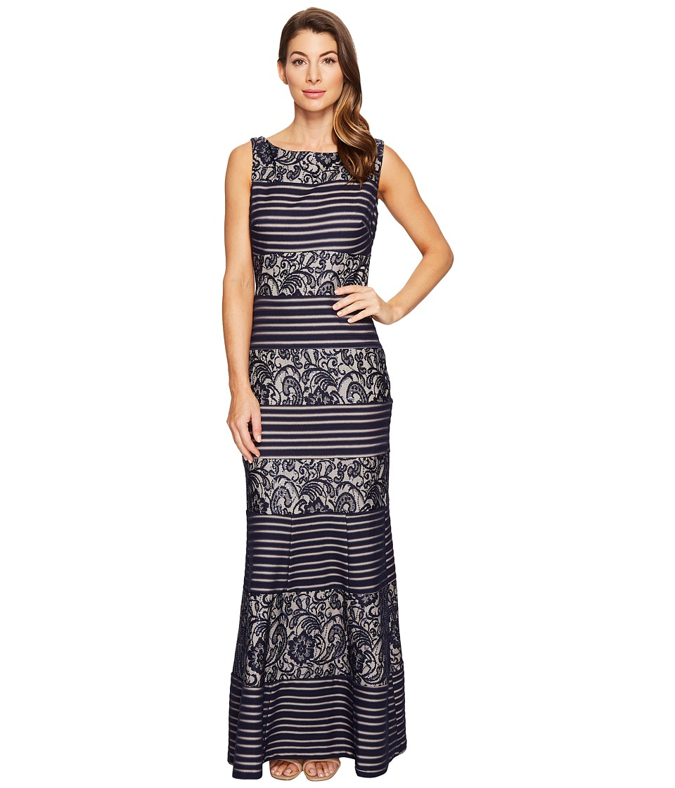 Sangria - Sleeveless Lace Gown (Navy) Women's Dress