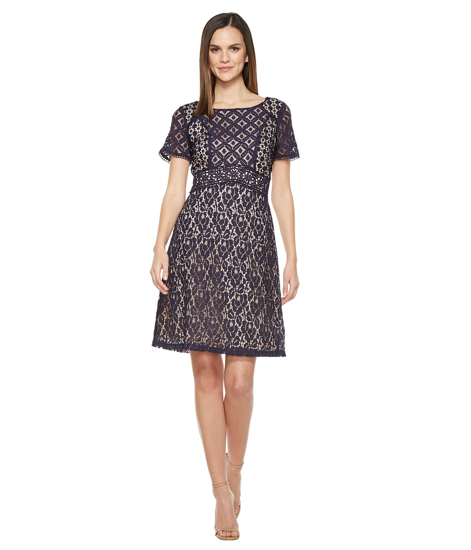 Sangria - Short Sleeve Lace A-Line Dress (Navy) Women's Dress
