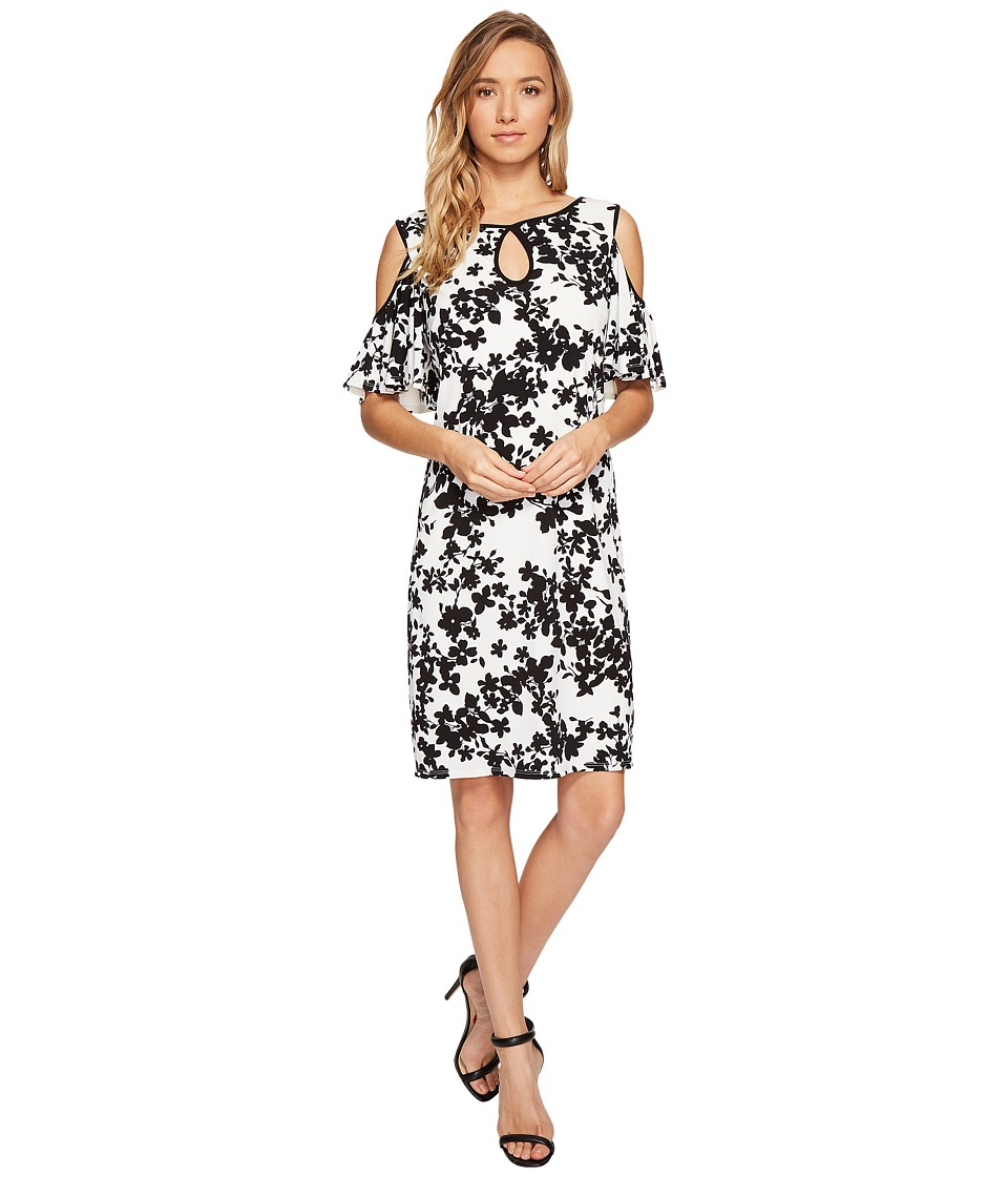 Sangria - Cold Shoulder Floral Shift Dress with Keyhole Detail (Black/Ivory) Women's Dress