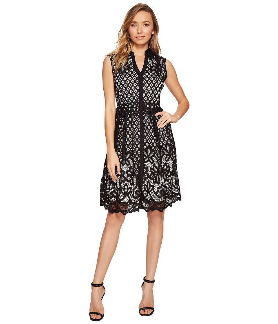 Sangria - Sleevless Lace A-Line Shirtdress (Black/Ivory) Women's Dress