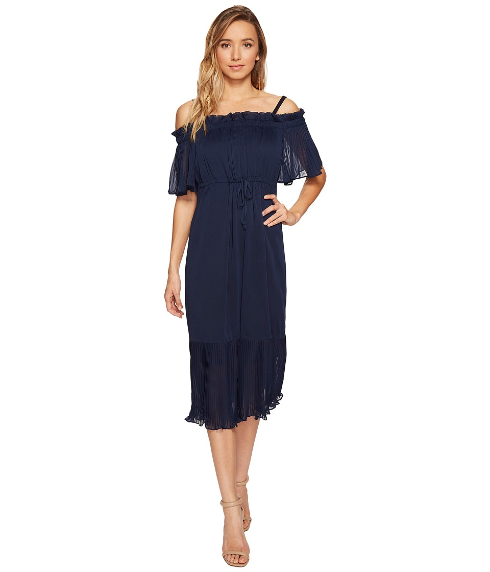 Sangria - Elbow Sleeve Off the Shoulder Pleated Peasant Midi Dress (Dusk) Women's Dress