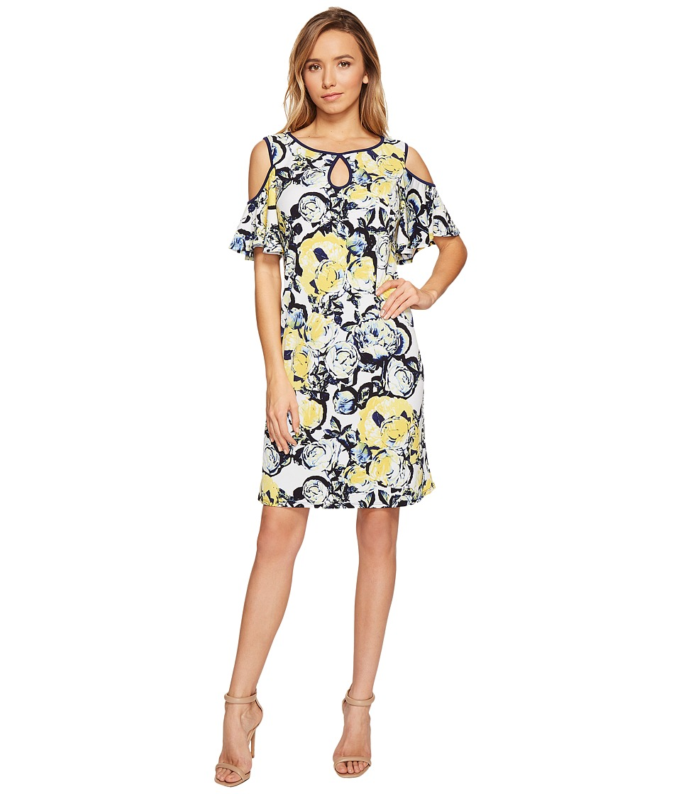 Sangria - Cold Shoulder Floral Shift Dress with Keyhole Detail (Blue/Multi) Women's Dress