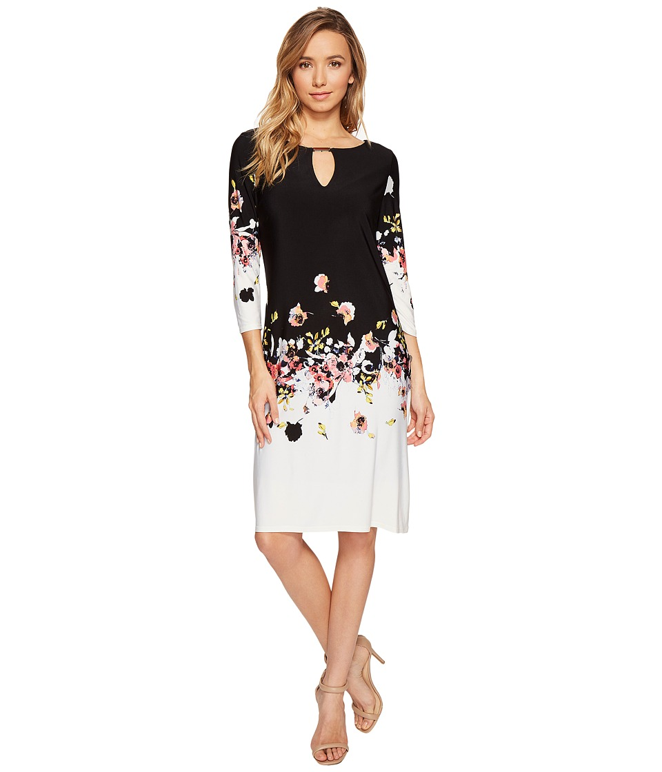 Sangria - Jersey Shift Dress (Black/Multi) Women's Dress