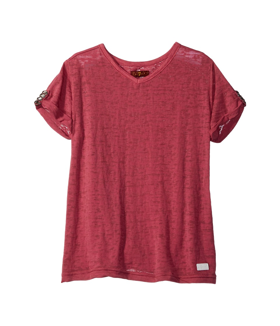 7 For All Mankind Kids - Slouchy V-Neck Tee (Big Kids) (Rosewine) Girl's T Shirt