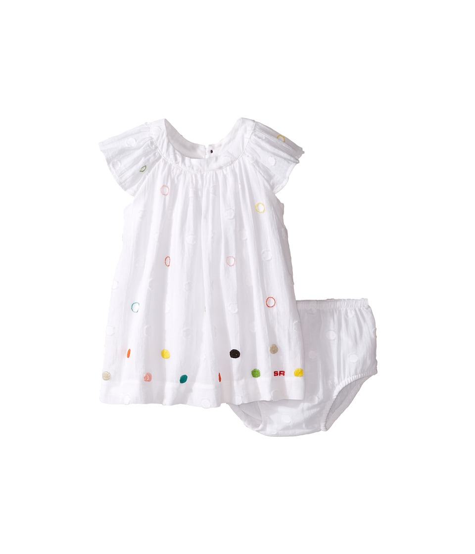 Sonia Rykiel Kids - Short Sleeve Embroidered Polka Dot Dress w/ Diaper Cover (Infant) (White) Girl's Dress