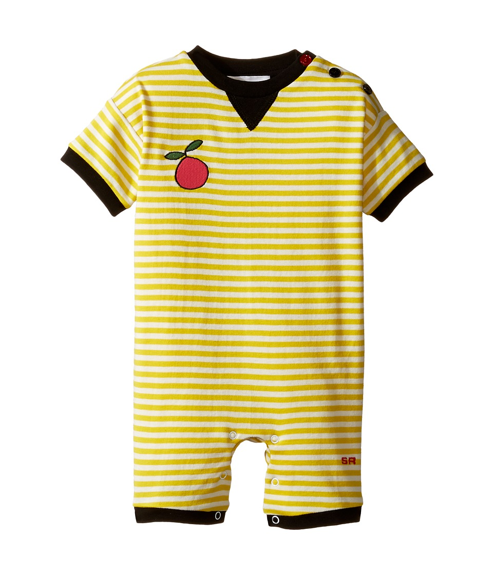 Sonia Rykiel Kids - Short Sleeve Striped Romper w/ Fruit Patch Detail (Infant) (White/Yellow) Girl's Jumpsuit & Rompers One Piece