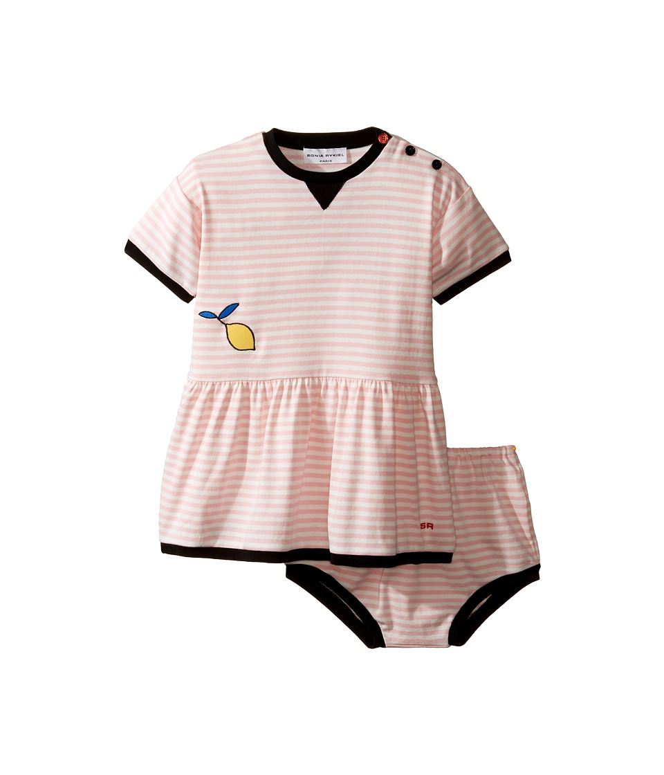 Sonia Rykiel Kids - Short Sleeve Striped Dress w/ Matching Diaper Cover (Infant) (White/Pink) Girl's Dress