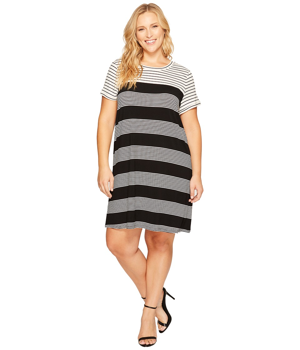 Calvin Klein Plus - Plus Size Striped T-Shirt Dress (Black/White) Women's Dress