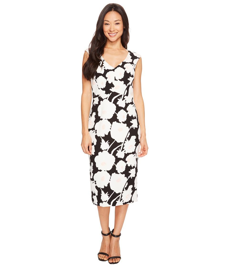 Ivanka Trump - Printed Compression Dress (Black/Blush) Women's Dress