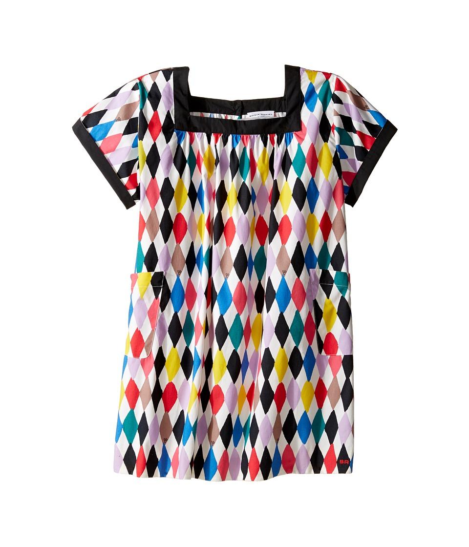 Sonia Rykiel Kids - Harlequin Printed Short Sleeve A-Line Dress w/ Pockets (Big Kids) (Multi/White) Girl's Dress