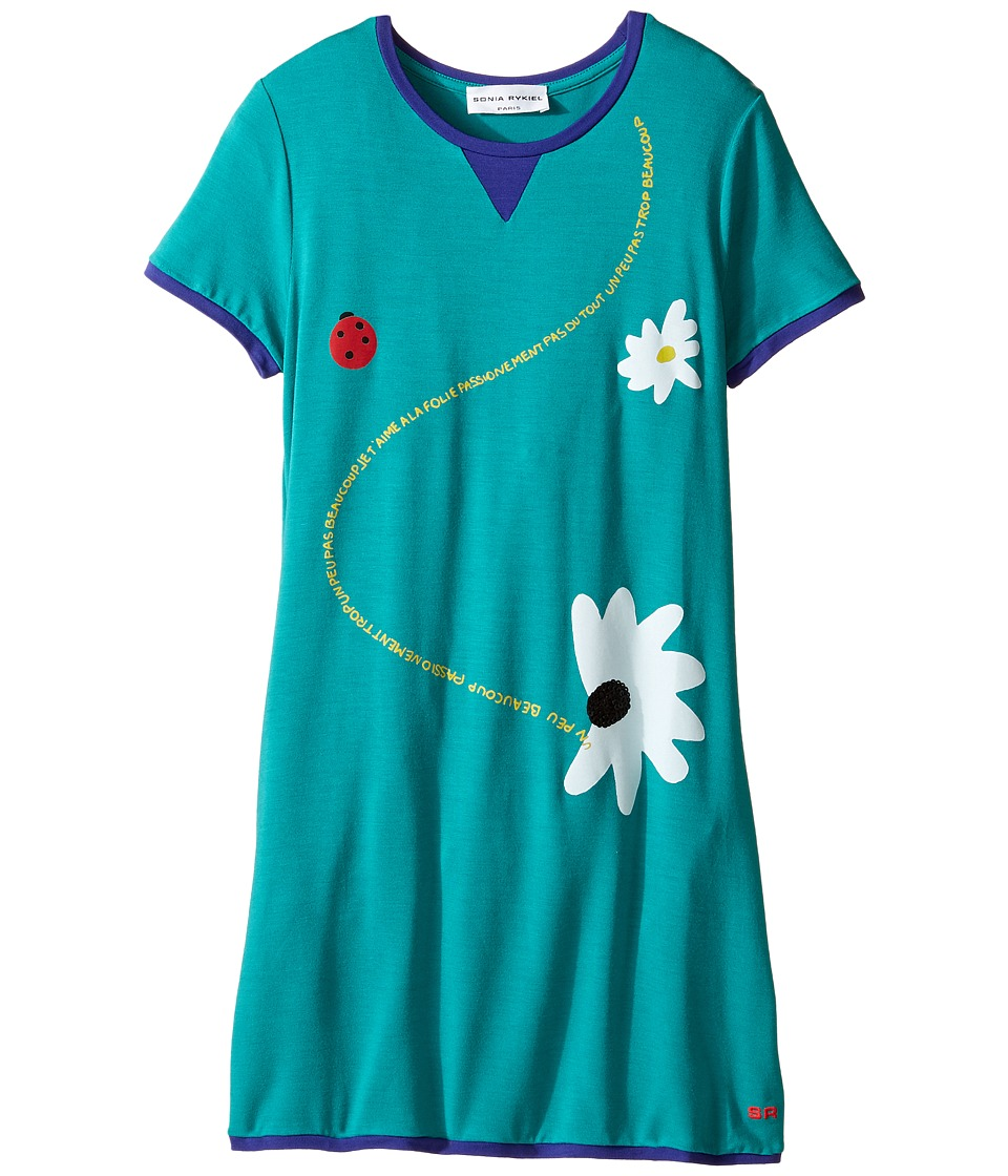 Sonia Rykiel Kids - Short Sleeve Dress w/ Flower Design On Front (Big Kids) (Emerald) Girl's Dress
