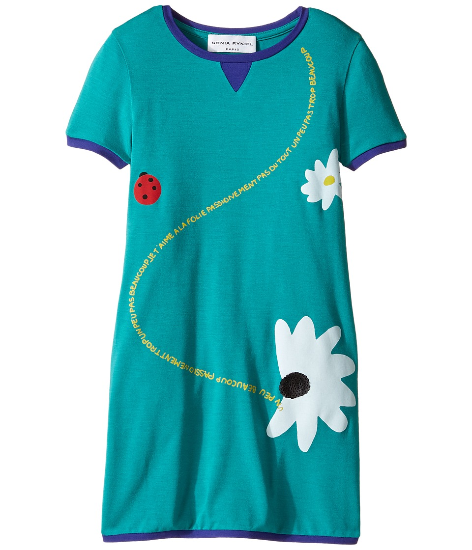 Sonia Rykiel Kids - Short Sleeve Dress w/ Flower Design On Front (Toddler/Little Kids) (Emerald) Girl's Dress
