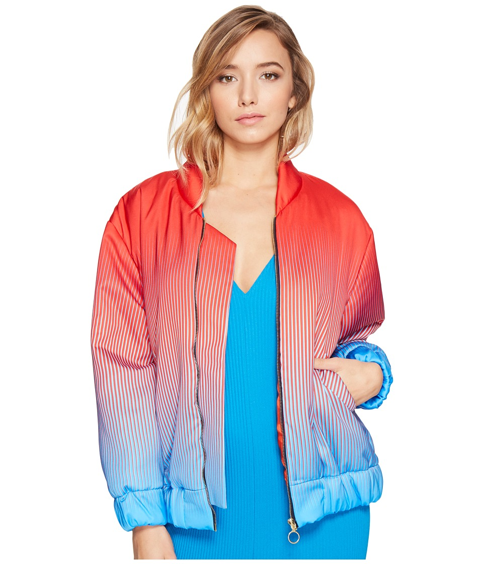 Kitty Joseph - Satin Bomber Jacket (Ruby/Sky Blue) Women's Coat