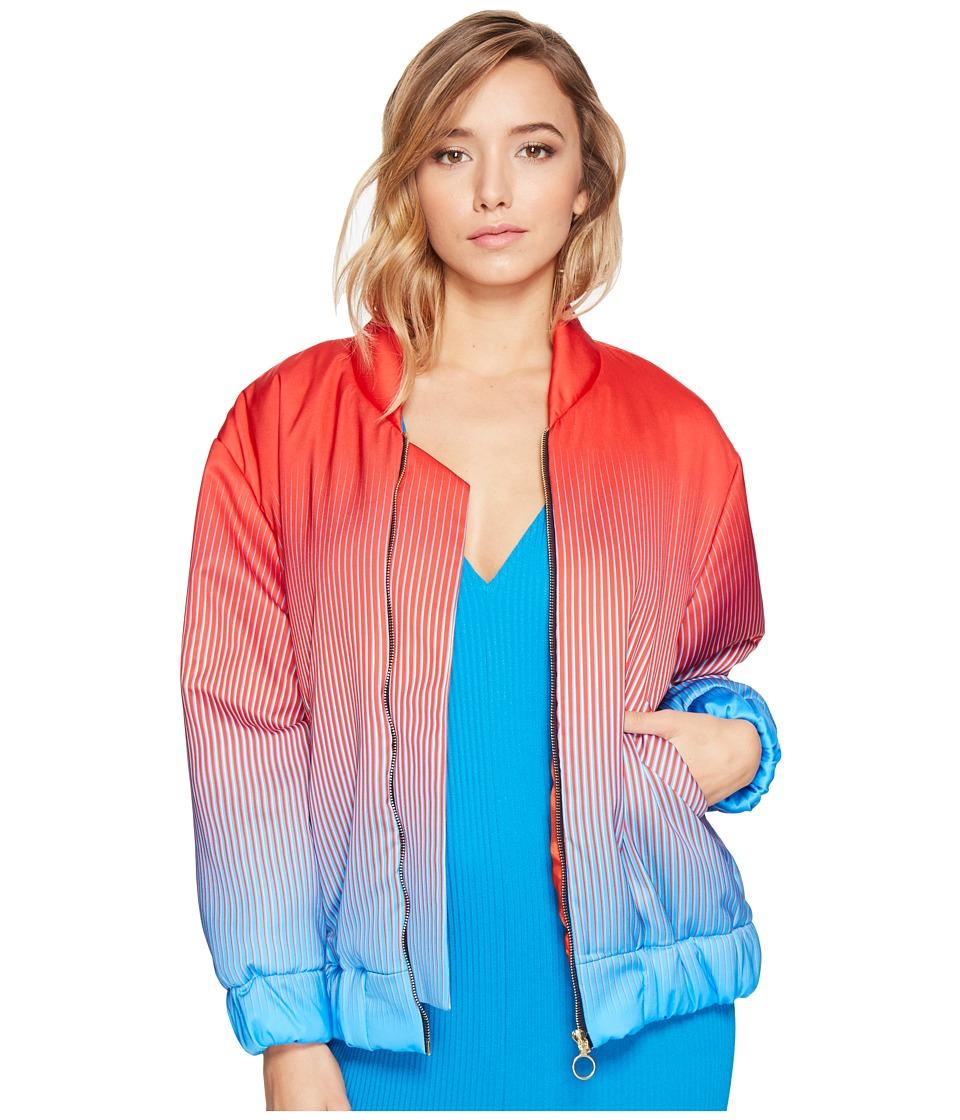 Kitty Joseph - Satin Bomber Jacket (Ruby/Sky Blue) Women's Coat