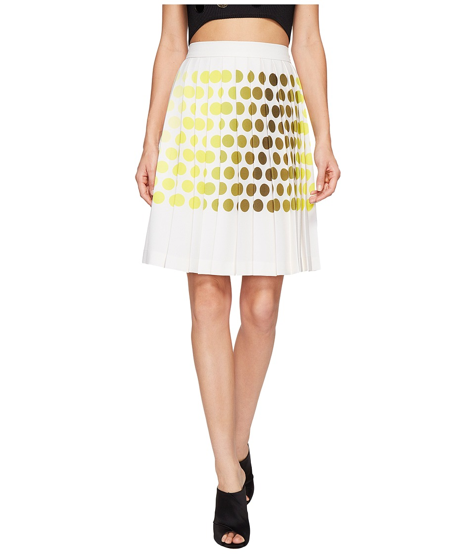 Kitty Joseph - Polka Dot Pleated Skirt (Lemon/Cr me) Women's Skirt