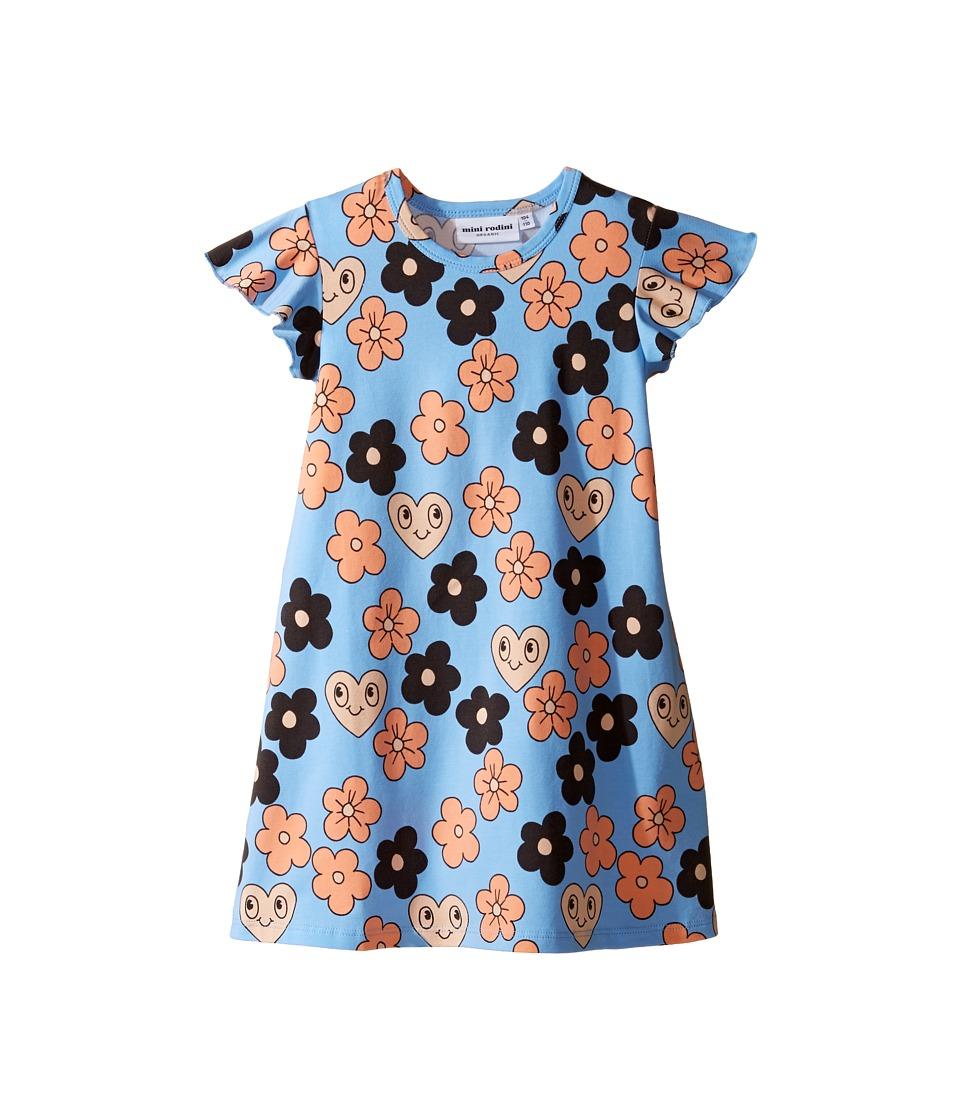 mini rodini - Flowers Wing Dress (Infant/Toddler/Little Kids/Big Kids) (Light Blue) Girl's Dress