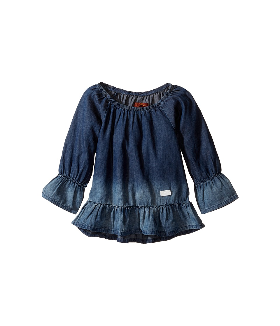 7 For All Mankind Kids - Off Shoulder Ruffle Top (Little Kids) (Chambray Bleach) Girl's Clothing