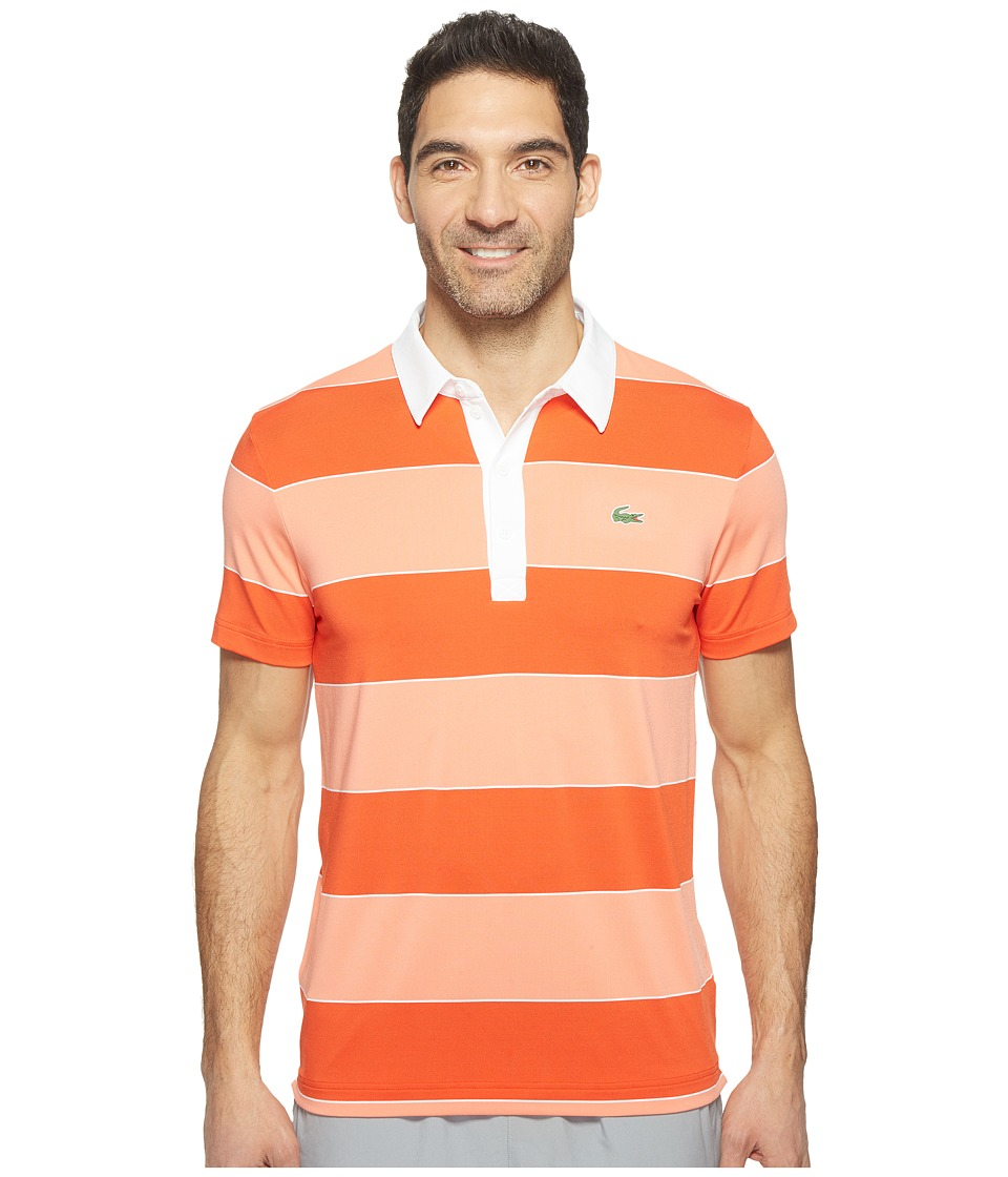 Lacoste - Golf Stretch Ultra Dry Bold Stripe Polo (Etna Red/Tarama/White) Men's Clothing
